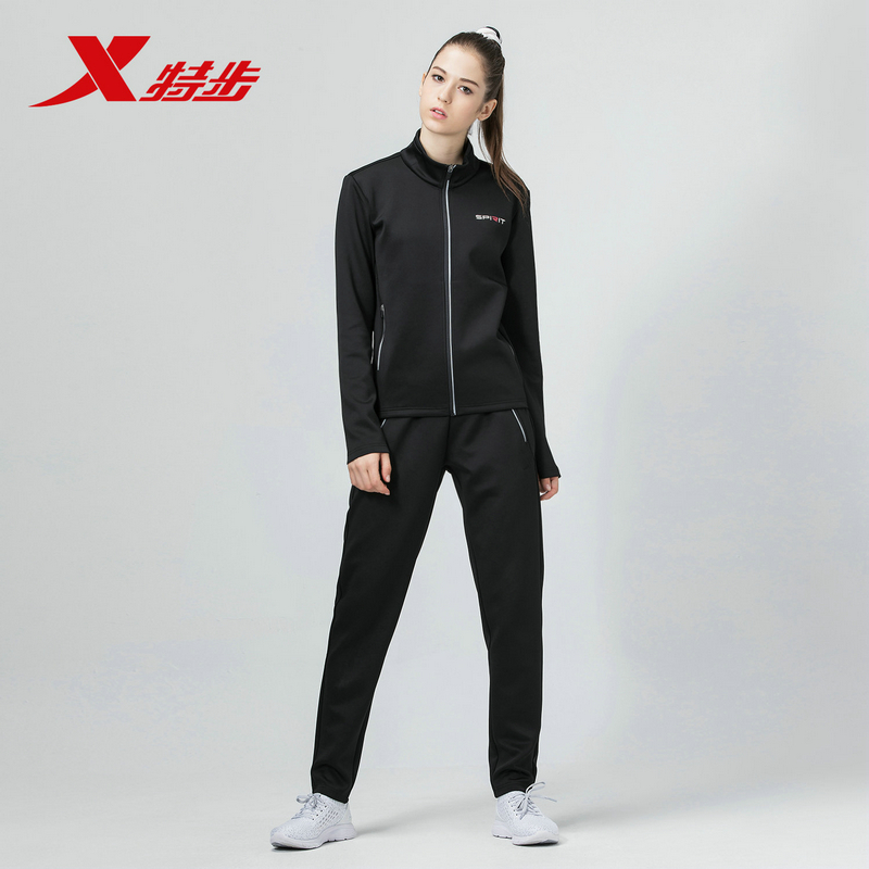 882428969039 Xtep women sports suit female spring knit jacket and pants sportswear set running