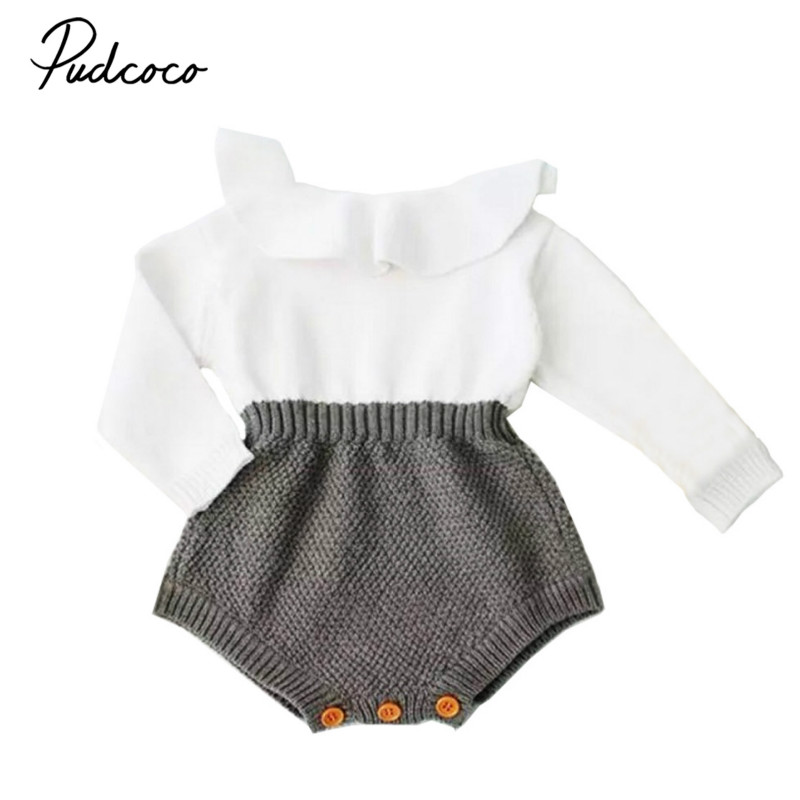 2017 Fall Winter Newborn Baby Girl Cute Knitting Romper Long Sleeve Cape Collar Patchwork Toddler Kids Jumpsuit Clothes 0-24M