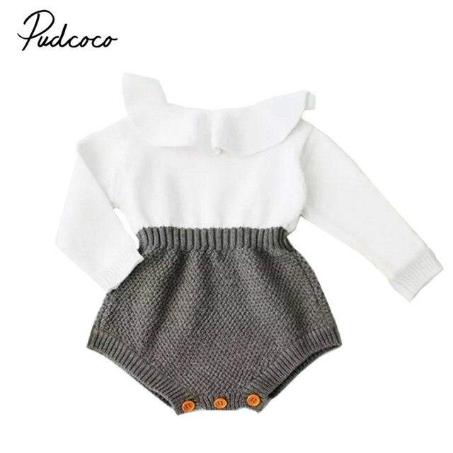 c8a5e34430e6 2017 Fall Winter Newborn Baby Girl Cute Knitting Romper Long Sleeve Cape  Collar Patchwork Toddler Kids
