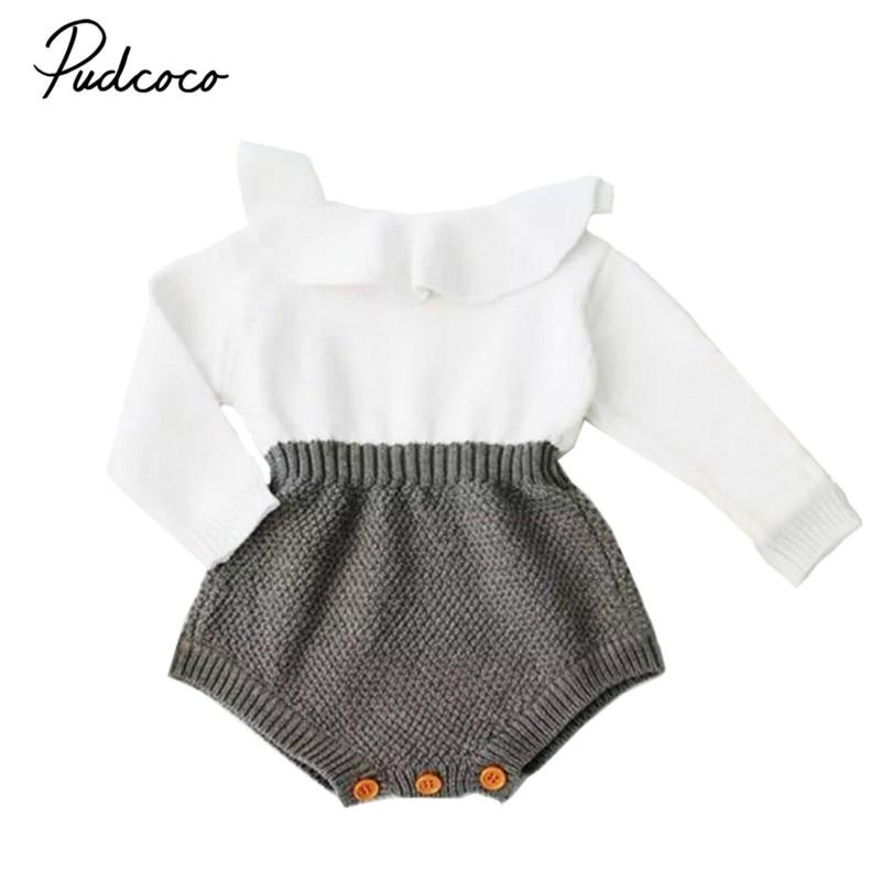 2017 Herbst Winter Neugeborenen Baby Mädchen Nette Knitting Strampler Langarm Cape Kragen Patchwork Kleinkind Kinder Overall Kleidung 0-24 Mt Zur Verbesserung Der Durchblutung