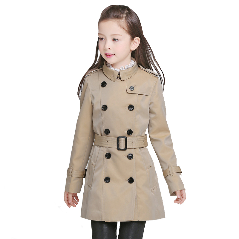 BAYALI Girls Coat Brand Double Breasted Classic Khaki Outdoor Wear Kids Long with The Belt England Style High Quality цена 2017