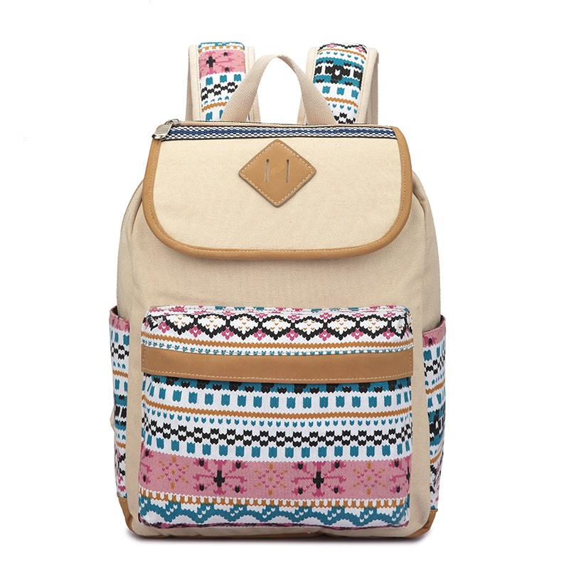nubuck soft leather coupled with fashion flower canvas backpack National preppy style woman school bag travel