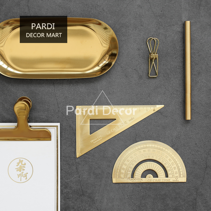 Golden Stainless Steel Handmade Ruler Desk Tool Study Tools Office Tools 1pc/lot