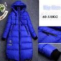 Mulheres encapuzados jaqueta de inverno 2016 Ocasional Quente Grossa Azul Preto Longo jaqueta casacos Para Baixo para As Mulheres Grávidas Plus Size XL-5XL YRF121