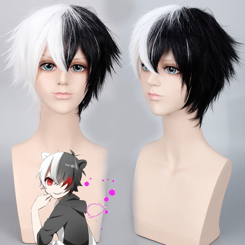 Anime Game Danganronpa Black And White Bear Wig Cosplay Monokuma Synthetic Short Fluffy Hair Wig Cap Men's Costumes