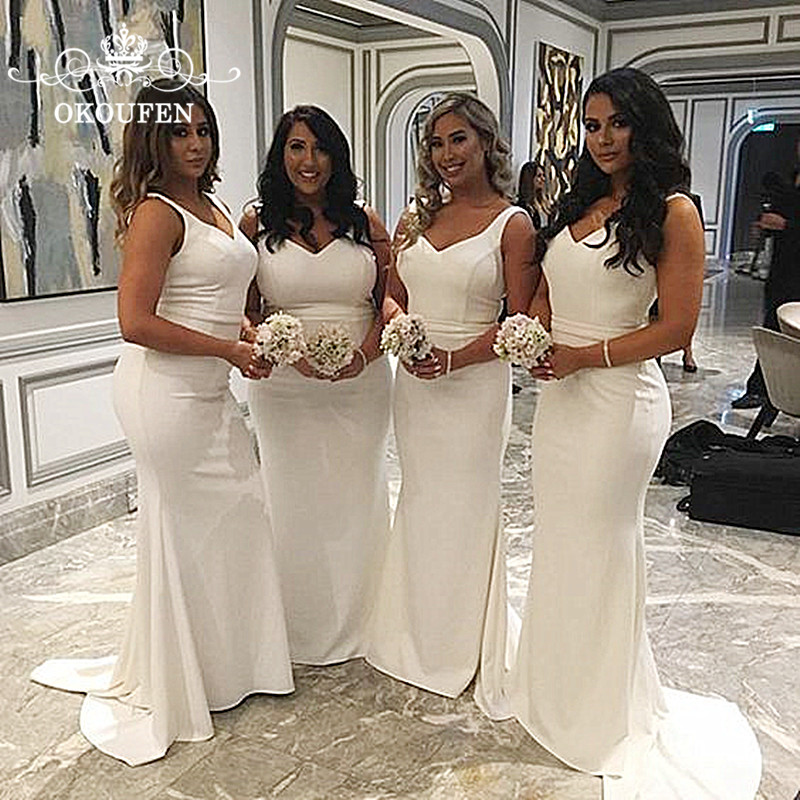 Wholesale Price White Mermaid   Bridesmaid     Dresses   For Women 2019 V Neck Corset Back Long Party   Dress   Maid Of Honor Formal Gown