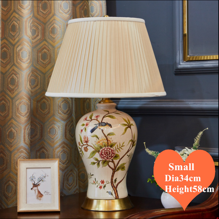 Chinese flower bird <font><b>ceramic</b></font> small <font><b>Table</b></font> <font><b>Lamps</b></font> European retro apricot lampshade copper <font><b>base</b></font> E27 LED <font><b>lamp</b></font> for bedside&foyer MF035 image