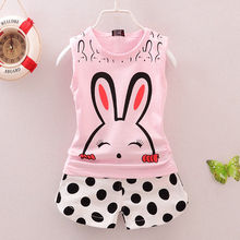 Newborn Kids Toddler Baby Girls Summer Clothing Clothes Infant Outfit Set Vest Top + Polka Dot Shorts Rabbit Print