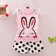 Newborn Kids Toddler Baby Girls Summer Clothing Clothes Infant Outfit Set Vest Top + Polka Dot Shorts Rabbit Print