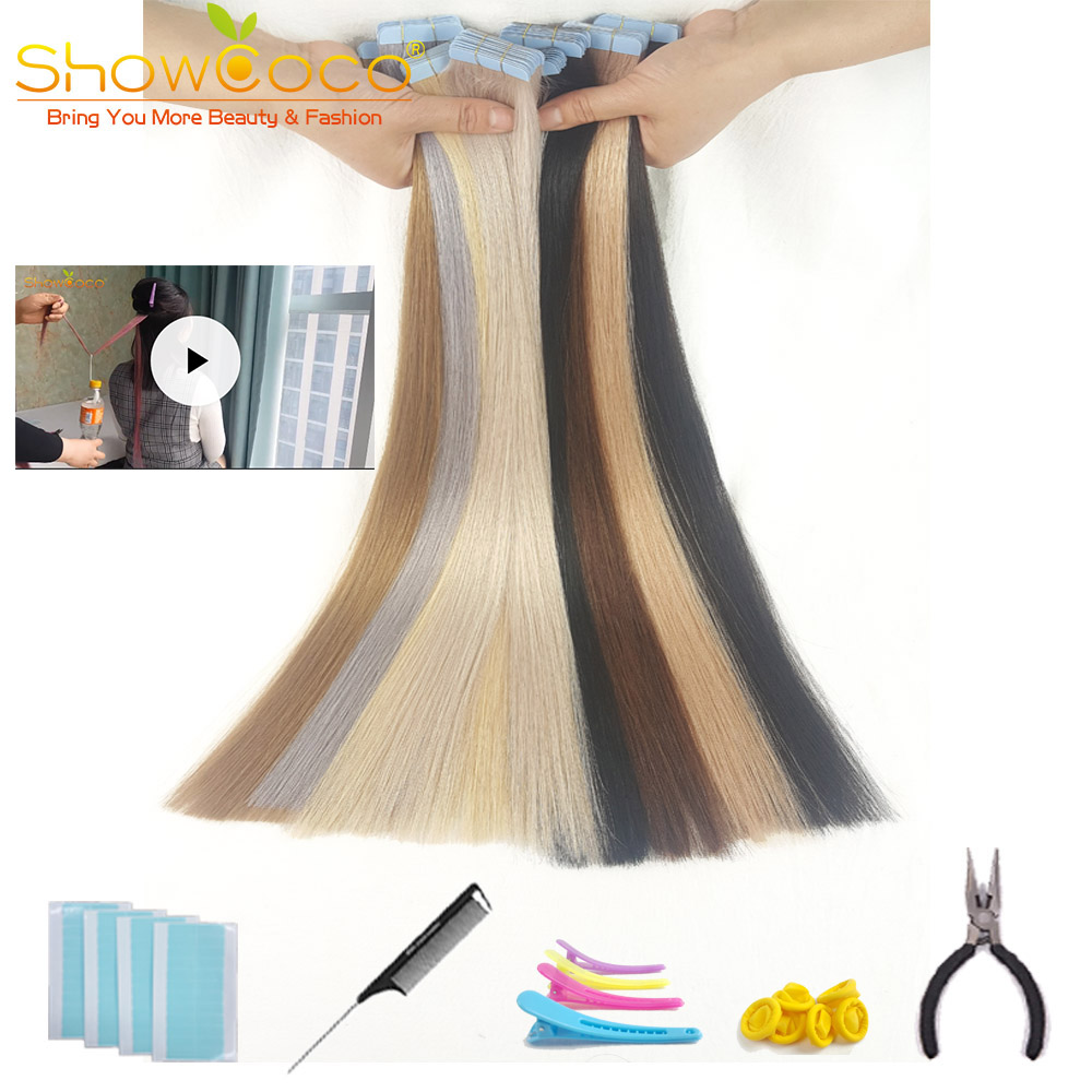 ShowCoco Tape In Human Hair Extensions Natural Real Hair 20/40pcs Mixed Color Hotheads Extensions Shine Brown To Blonde Tape Ins(China)