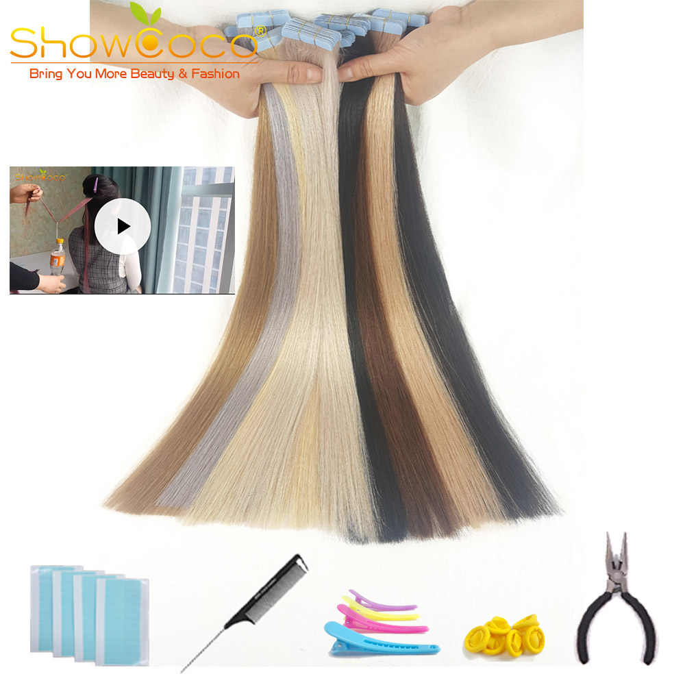 ShowCoco Tape in Human Hair Extensions Natural Real Hair 20/40pcs Mixed Color Hotheads Extensions shine Brown to Blonde tape ins