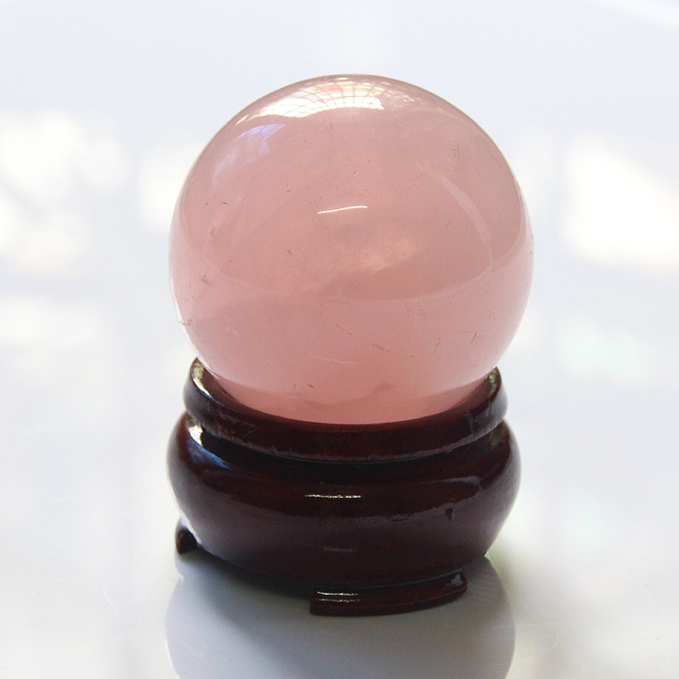 2015 with wood stand 30mm or 40mm of ice kinds of natural pink crystal rose quartz sphere ball healing freeshipping