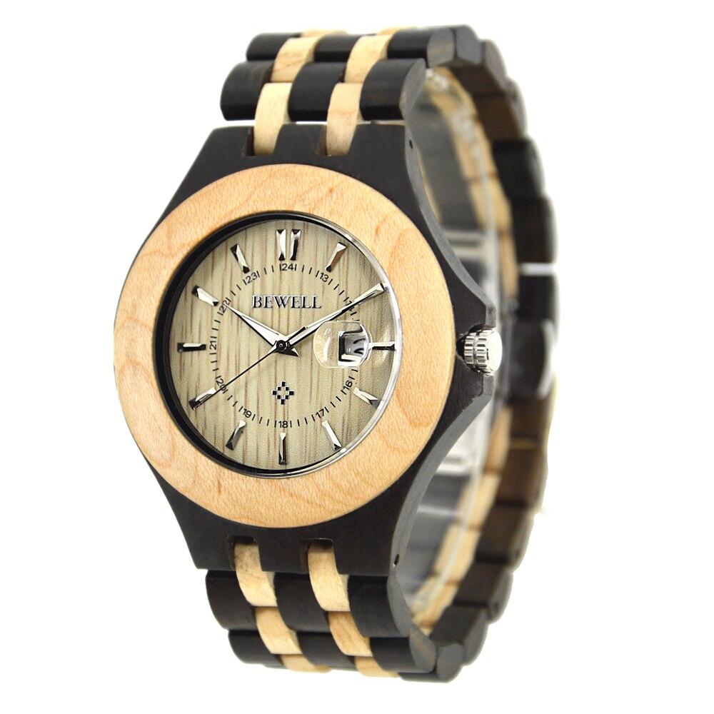 где купить  Bewell 080A Wood Quartz  Watch Men Fashion Casual Wristwatch Wooden Band with Calendar ZS-W080A  по лучшей цене
