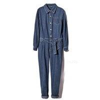 Бесплатная доставка Для женщин длинный рукав Повседневное свободные джинсовые комбинезоны Дамская мода синий комбинезон с поясом