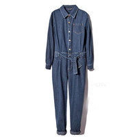 Free Shipping Women Full Sleeve Casual Loose Denim Jumpsuits Lady's Fashion Blue Overalls With Sashes S XXL