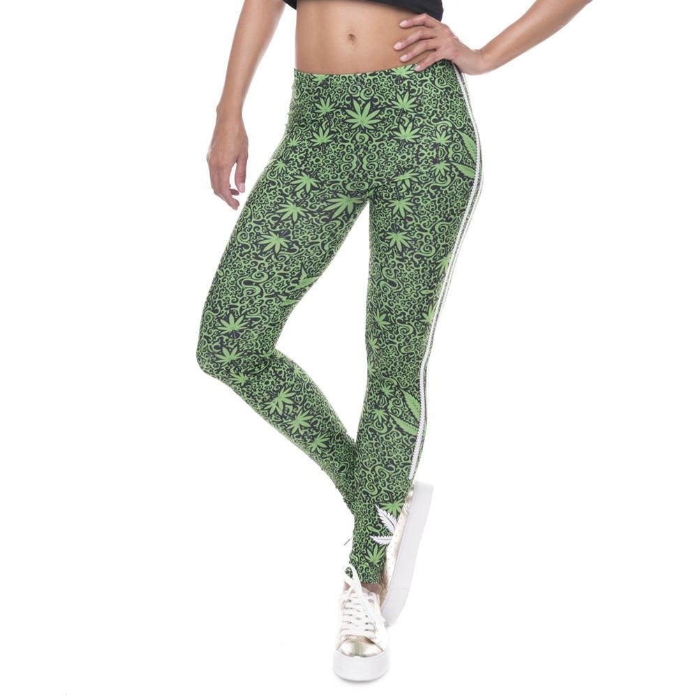 FCCEXIO Fashion Stretch Leggings Weeds White Stripes Printing Fitness legging Sexy Silm legins High Waist Trouser Women Pants
