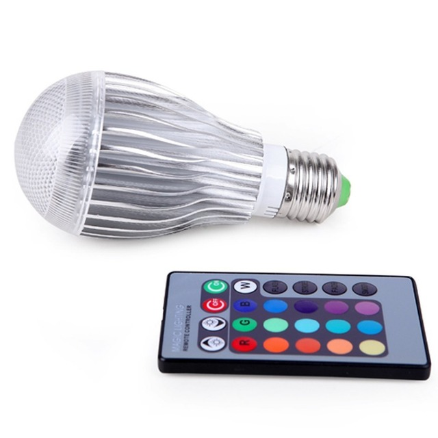 10 w E27 bulk sales RGB LED Light   Remote Controller  Color Changing Lamp  KTV, bedroom, hotel, bar