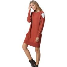 2018 New Arrival Autumn Winter Women Heart Cute Patchwork Long Pullovers KnittedMini Dress