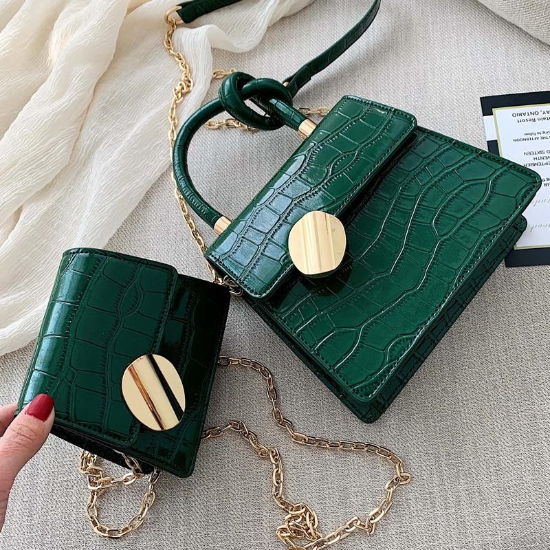 2020 Fashion New Tote Bag Quality Leather Women's Designer Handbag Crocodile Pattern Chain Shoulder Messenger Bag Bolsos Mujer