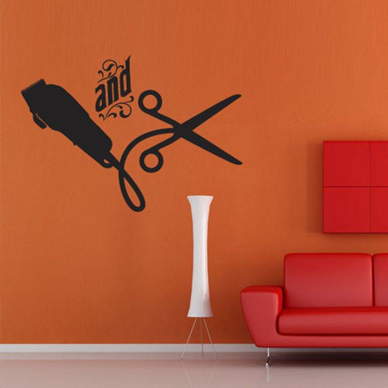 barber shop sticker name scissors clipper hair salon decal neutral haircut poster vinyl wall art. Black Bedroom Furniture Sets. Home Design Ideas