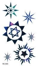 RC-049 Fashion Temporary Tattoo Stickers Beauty Body Art Blue Star Sun Stamp Skull Fake Flash Taty Tattoo Water Transfer Tatuaje