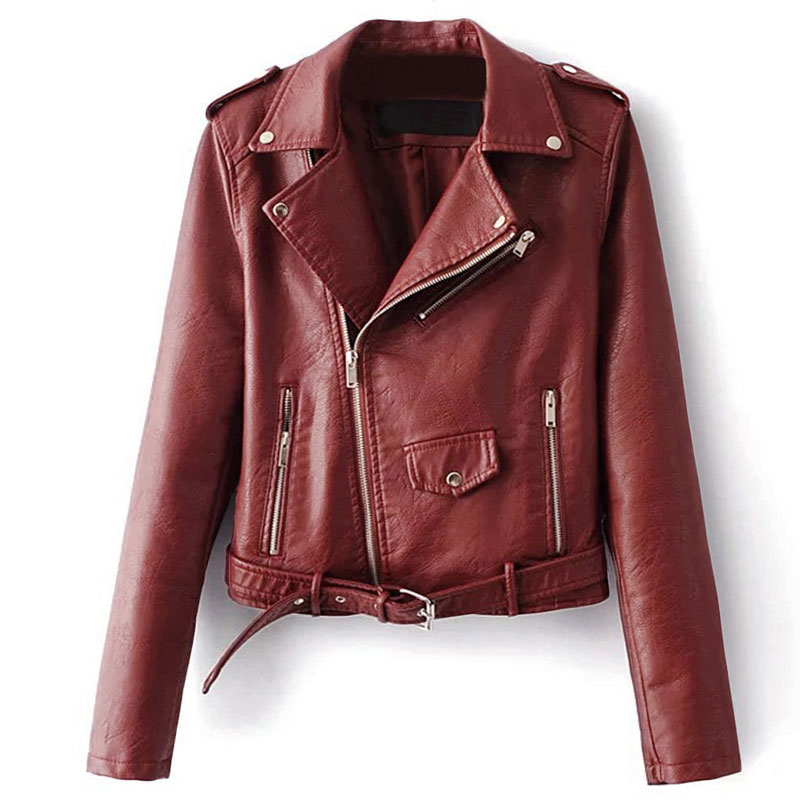 2019 New Autumn Witner Women Motorcycle Faux PU Leather   Jackets   Long Sleeve Lady Biker   Basic     Jacket   Outerwear Coat With Belt