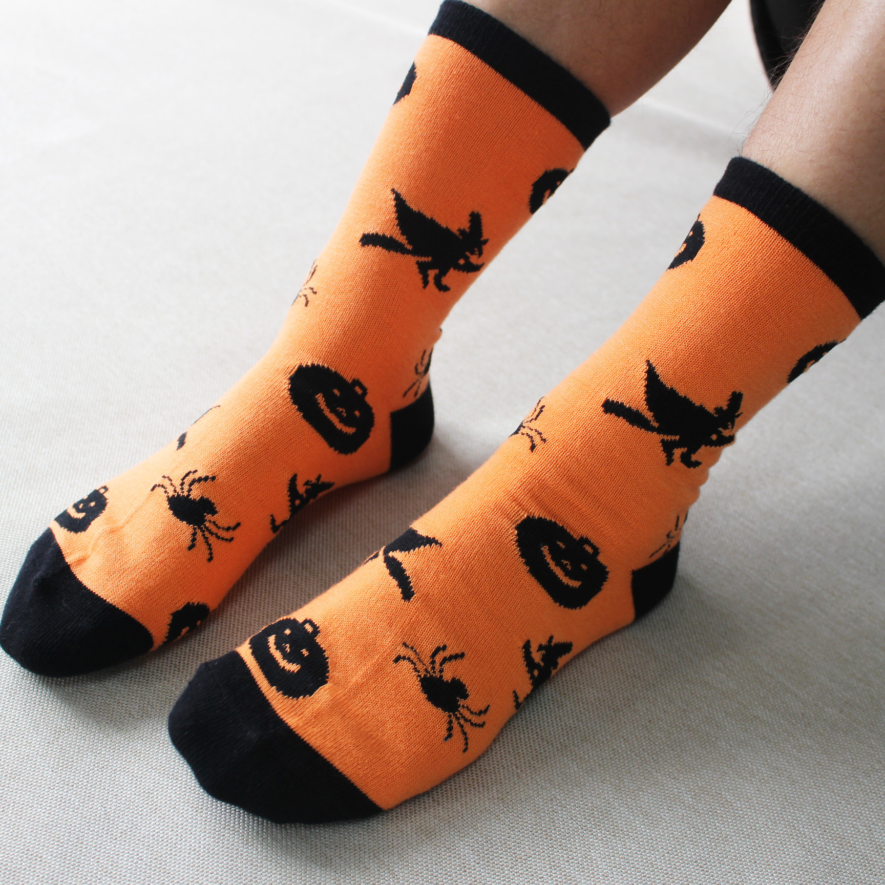 hallowmas Witches and skeletons Socks orange Warm Stitching pattern Antiskid Invisible Casual Socks unisex Funny Party 2017
