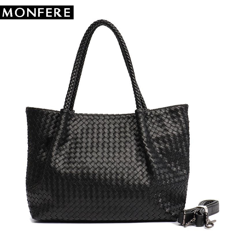MONFERE Women PU Leather Casual Handbags Handmade Woven Tote Bag Female  Vintage Shoulder Bag Retro Large 7ee4727033d80