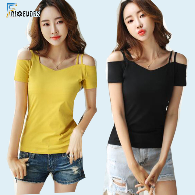 1a8d5006e3 2019 Cotton T-Shirts Design Tops Hot Women Cute Short Sleeve Slim Fit Off  Shoulder Tops Black Red Yellow Pink Open Shoulder Tees