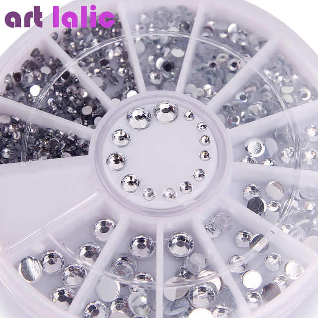 400 Pcs נייל Rhinestones מעורב כסף עגול יהלומי צורות 1.2mm/2mm/3mm/4mm 3D נייל קישוט אקריליק UV ג 'ל נייל אמנות דקור