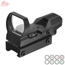 20mm/11mm celownik holograficzny Rifle Scope optyka myśliwska Tactical celownik 4 celownik celownik kolimatorowy Reflex czerwona zielona kropka