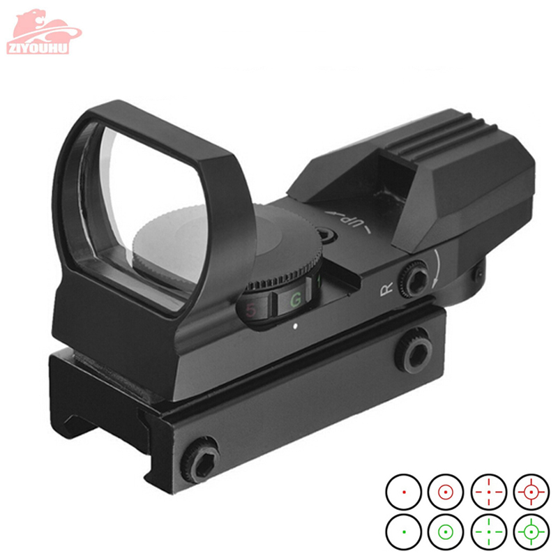 20mm Rail Holographic Rifle Scope Hunting Optics Tactical Scope Holographic Red Dot 4 Reticle Collimator Sight Reflex Riflescope-in Riflescopes from Sports & Entertainment