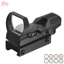 Mira holográfica para Rifle de caza dispositivo de puntería táctica, reflejo de 4 retículas, punto rojo y verde, 20mm / 11mm