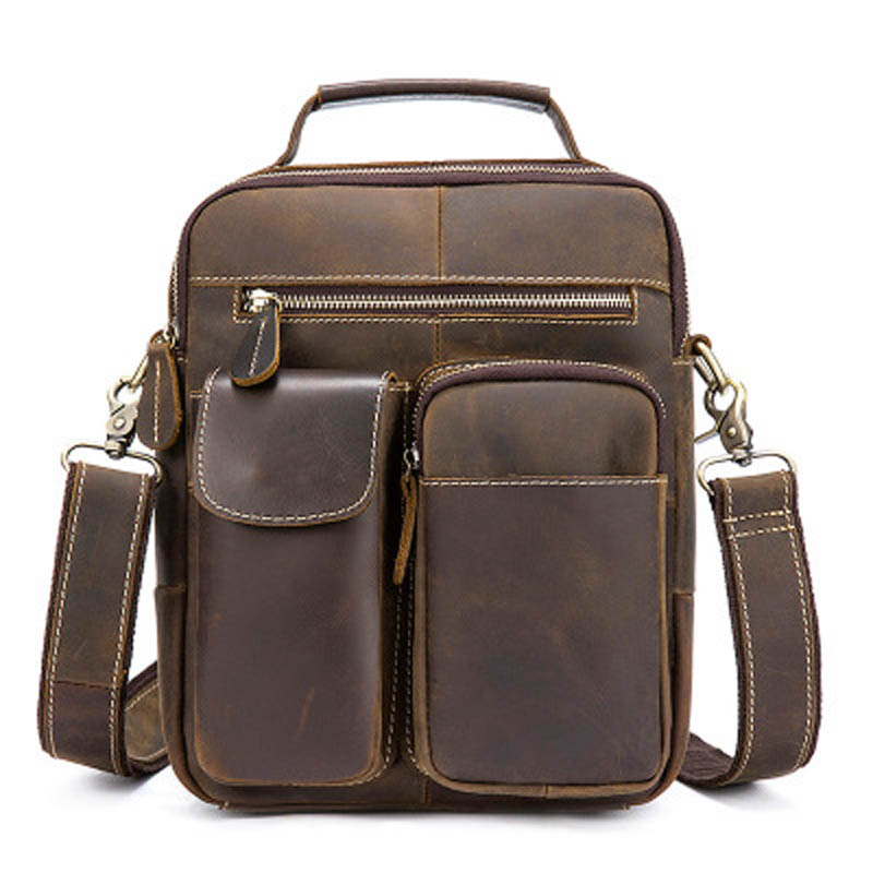 YISHEN Vintage Solid Men Crossbody Bags Crazy Horse Genuine Leather Male Messenger Bags Casual Travel Shoulder Bags MLT3552 yishen vintage genuine leather men crossbody bags business travel messenger bags casual large capacity male shoulder bag mlt2761
