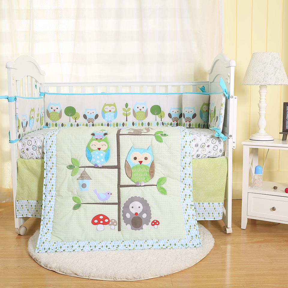 Owl Embroidery 3 Pcs Baby Cot Cot bed Bumper Set Duvet Cover Pillowcase