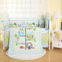 5pcs newborn baby animal print cartoon blue owl and tree embroidery crib cot bumper bedding set fabric cotton cartoon
