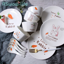 12pcs Ceramic Dish Cutlery Set Dinner Plates Cartoon Fruit Creative Dishes And Sets Piatti Ceramica For Kitchen