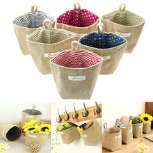 1 Pcs Cotton Linen Hanging Bag Home Gadget Storage Organizer For Flower Pot Small Sack Hanging Jute Dot Striped Storage Basket