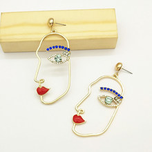 Unique Blue Crystal Human Face Earrings For Women Party Charm Jewelry Funny Abstract Art Hollow Gold Color Alloy Figure Earings(China)