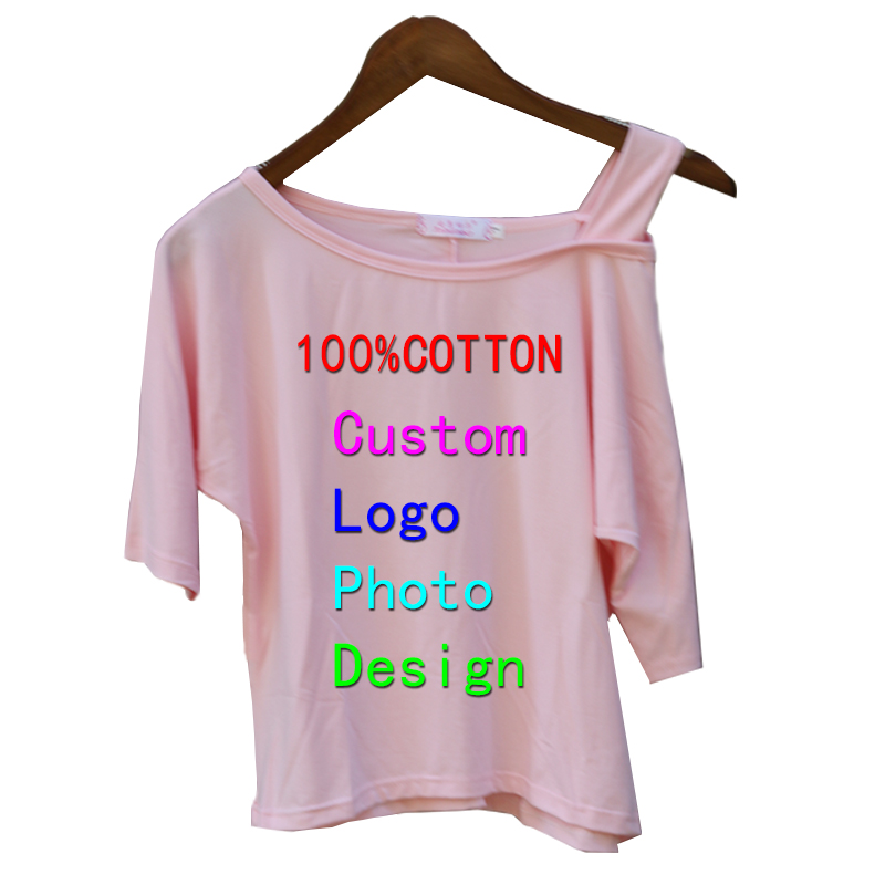 Sexy Off Shoulder Female Women Tops Custom Design Logo Text Photo Printed Female T-shirt Summer Short Sleeve Lady Tops T shirts