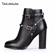 Woman Beauty Black Short Boots With Studs And Metal Buckle Ladies Winter Embossed Leather Winter Warm High Heel Block Ankle Boot