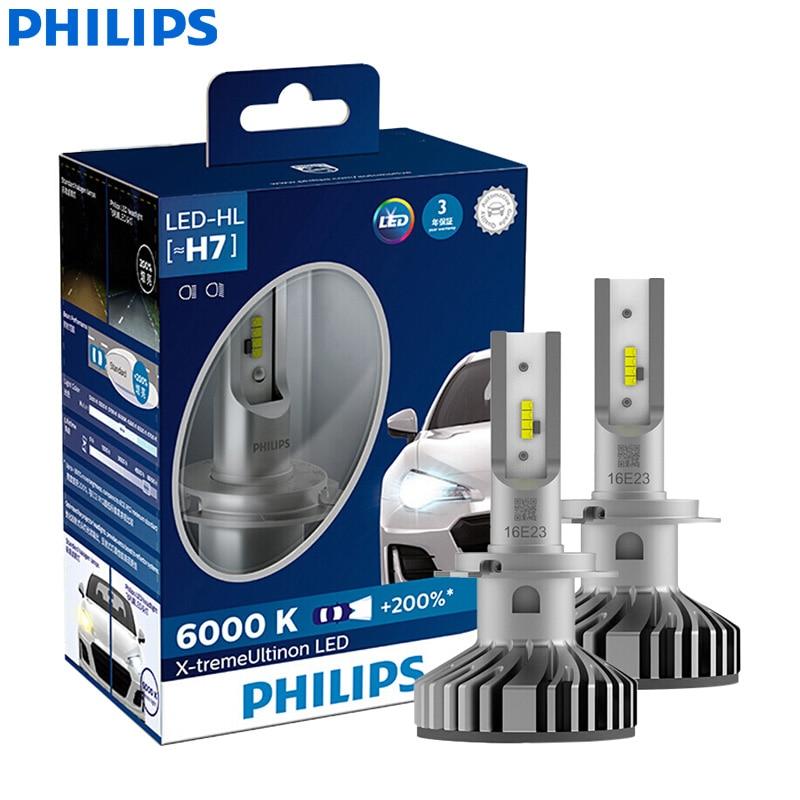 Philips X-treme Ultinon LED H7 12V 12985BWX2 6000K Bright Car LED Headlight Auto HL Beam +200% More Bright Stylish (Twin Pack)
