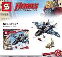 765Pcs The Avengers Age Of Ultron Quinjet Aerial Battle SY327 Avenger Building Block Minifigure Toys Compatible with Legoe