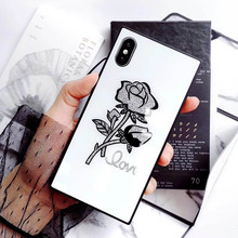 For Apple iphone 7 Fashion Square Tempered Glass Rose back cover 6 6s 8 x plus 6splus 6plus 7plus 8plus phone case