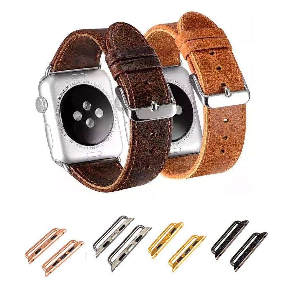 DAHASE Strap For Apple Watch Band Vintage Genuine Leather Watch Band For iWatch Series 1 2 3 Wristband with Connector Adapters
