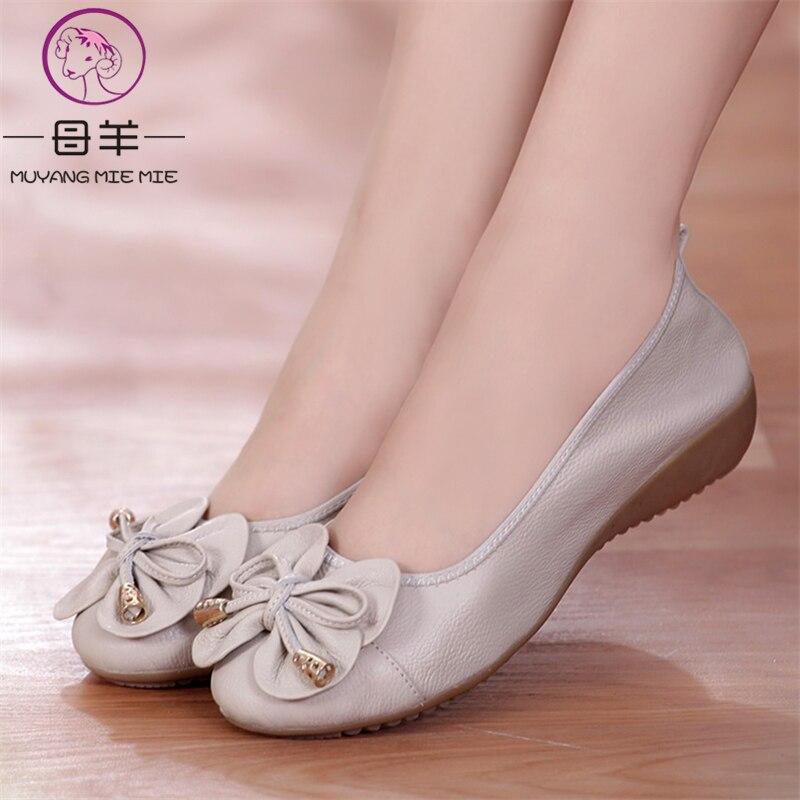MUYANG בתוספת גודל (35-42) בלט דירות 2018 נעלי אישה אמיתי עור נשים נעלי 5 צבעים גבירותיי נעליים חצאיות נעלי נשים דירות
