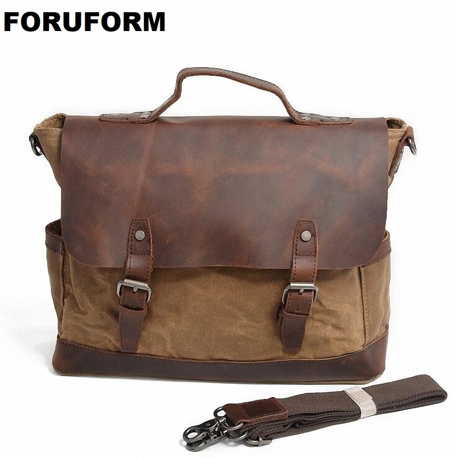 Retro Men Briefcase Business Shoulder Bag Waterproof Canvas Messenger Bag Man Handbag Tote Casual Travel Bag LI-1929 man s casual canvas shoulder bag messenger bag coffee white