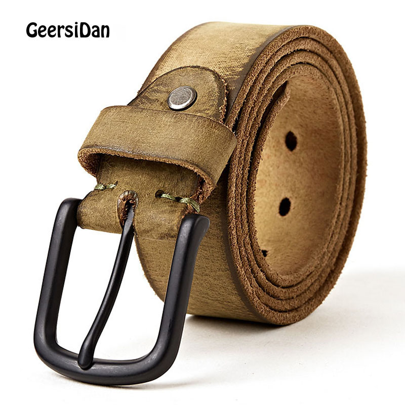 GEERSIDAN 2018 New genuine leather men's   belt   Top quality Frosted surface alloy pin buckle cowskin   belt   for men brown strap