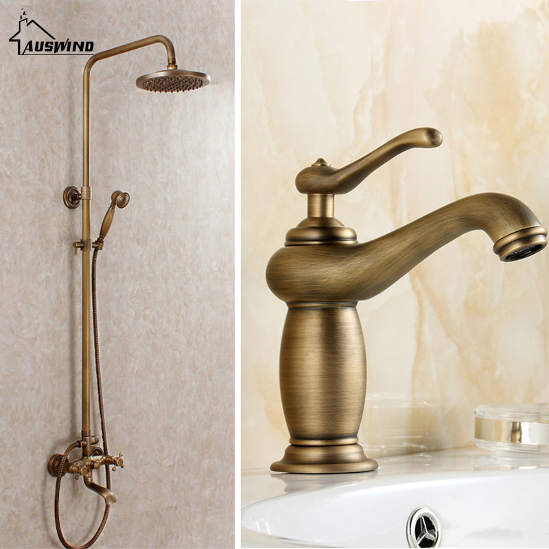 Classic Bronze Shower Set Brass Water Saving Bathroom Shower Head Rain basin faucet for free in Bathroom Shower Faucet Set
