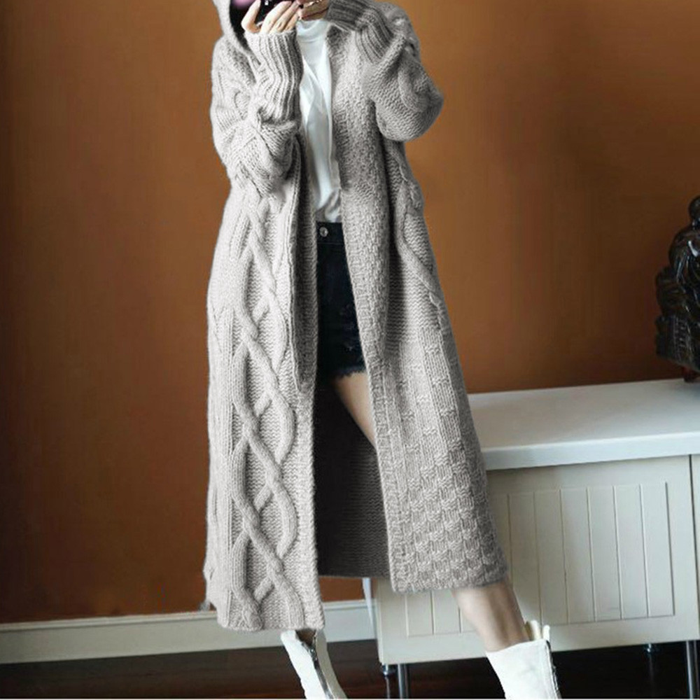 Fashion Women Winter  Hoodied Outwear Umbilical Twist Knitted Cardigan Sweater